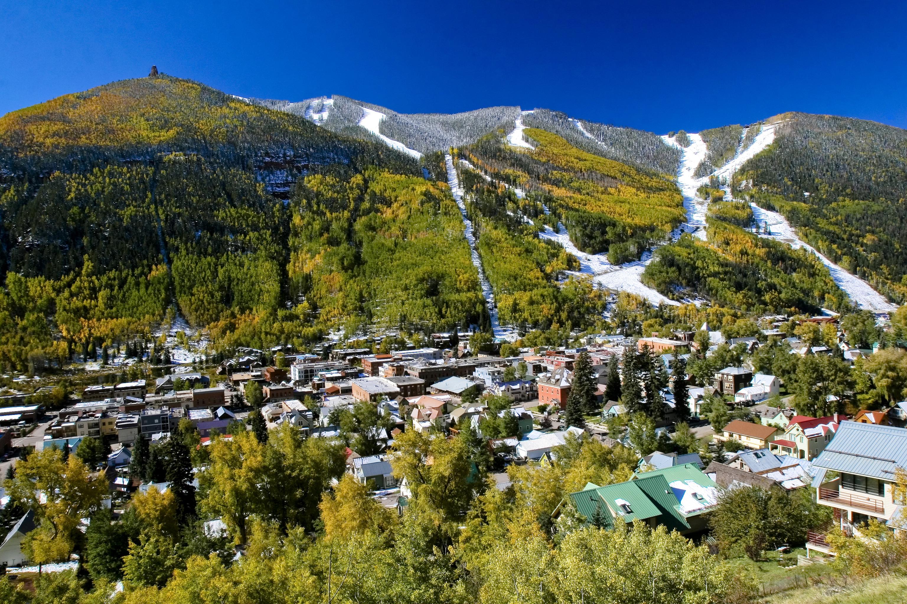 the town of telluride below its namesake ski resort | colorado