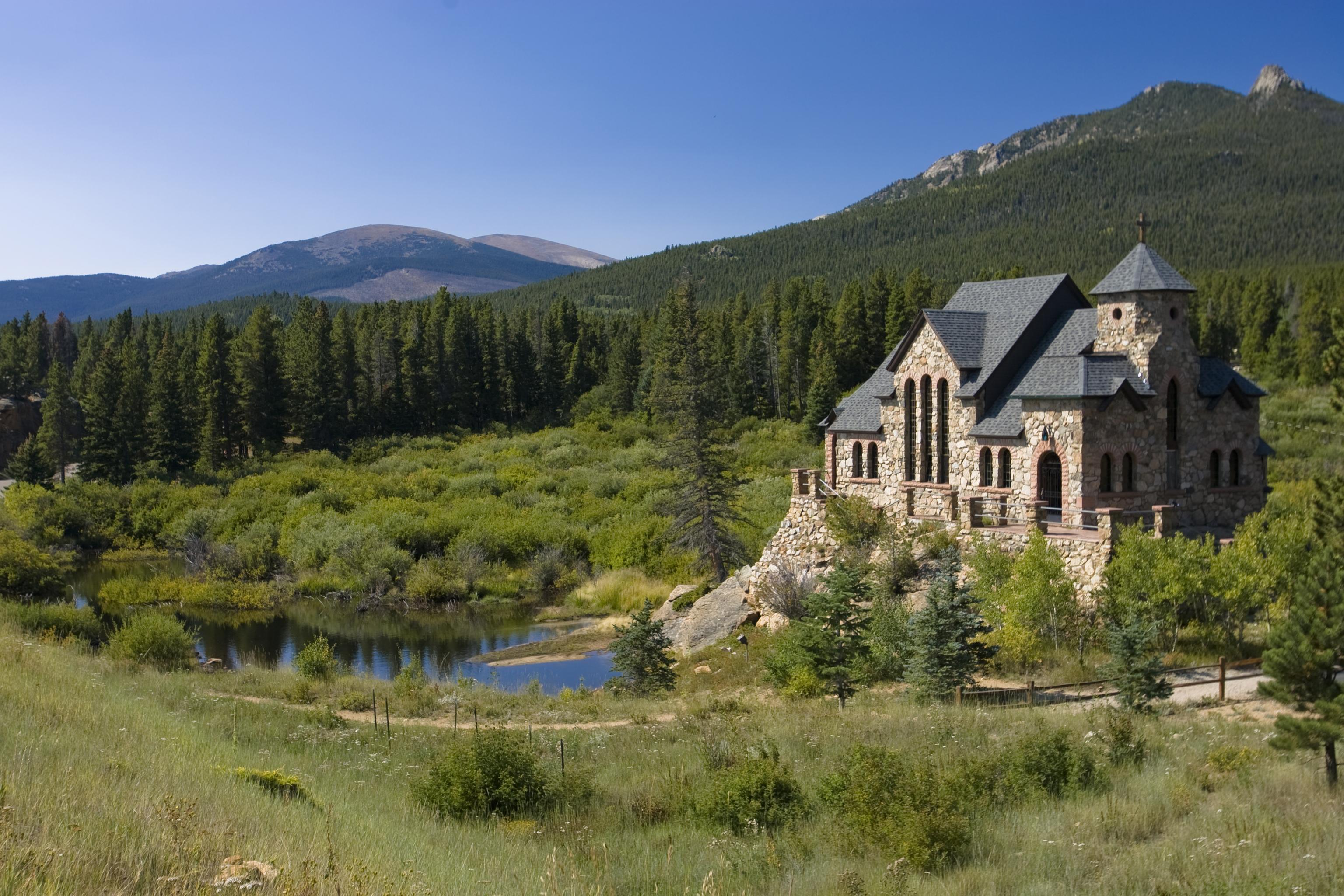 Picturesque Stone Chapel Near Estes Park Colorado