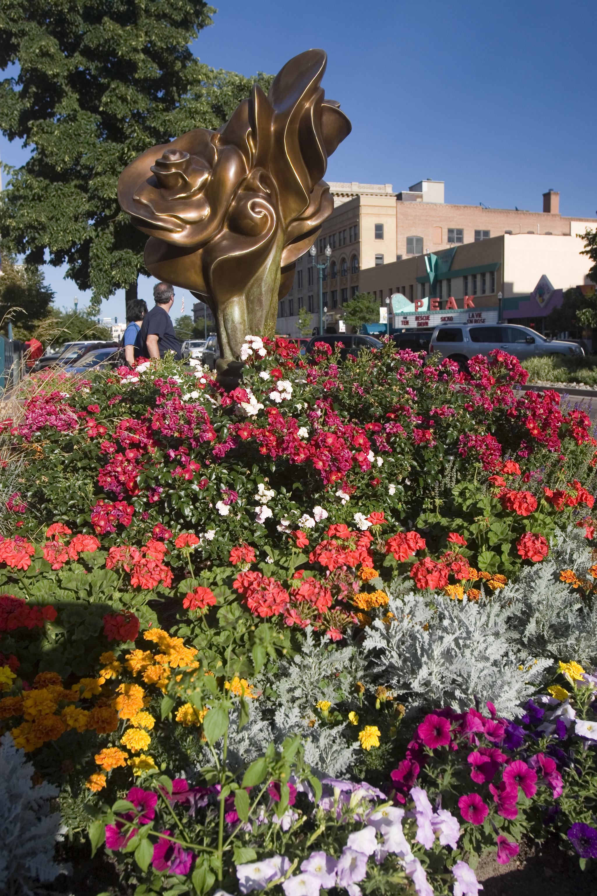 A medley of flowers surround a statue in colorado springs colorado a medley of flowers surround a statue in colorado springs mightylinksfo