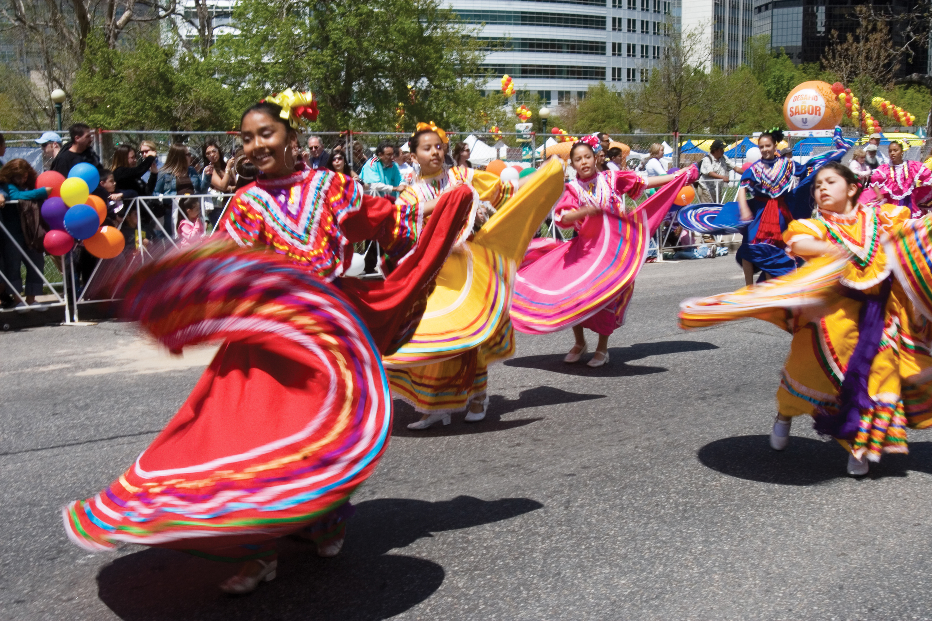 Dancers participating in the Cinco de Mayo Festival in