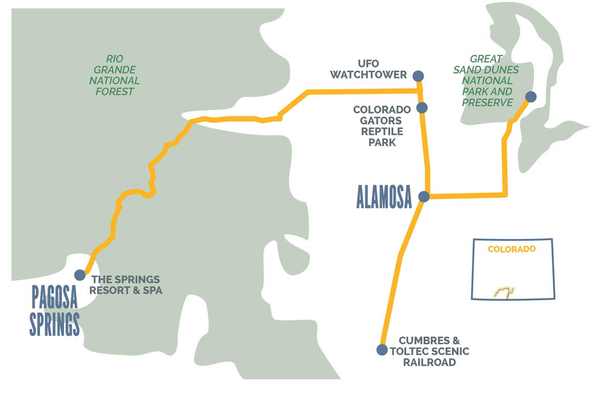Steam, Sand, Spaceships & Hot Springs in Alamosa, Pagosa Springs & Beyond Map