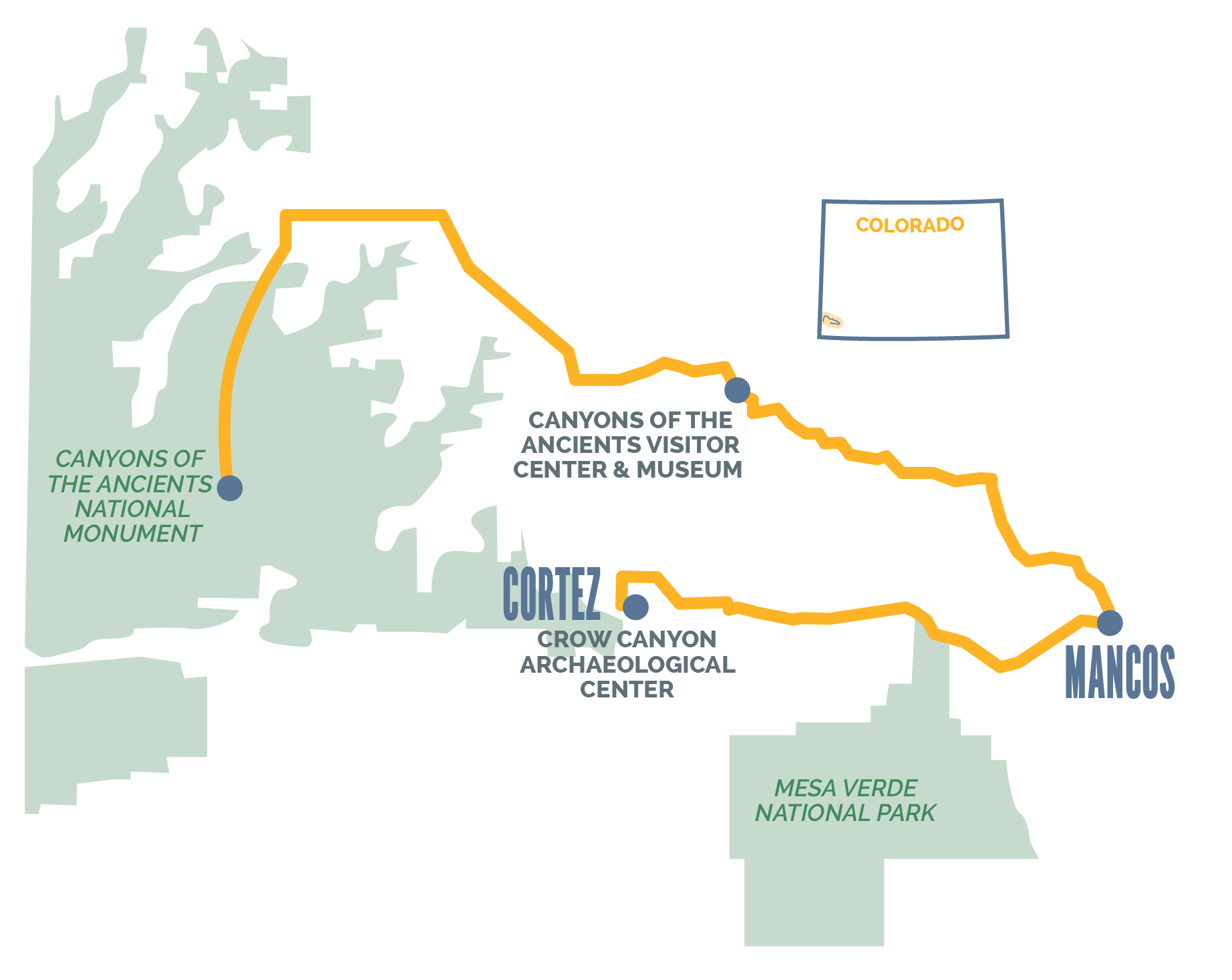 Southwest Colorado Itinerary Map