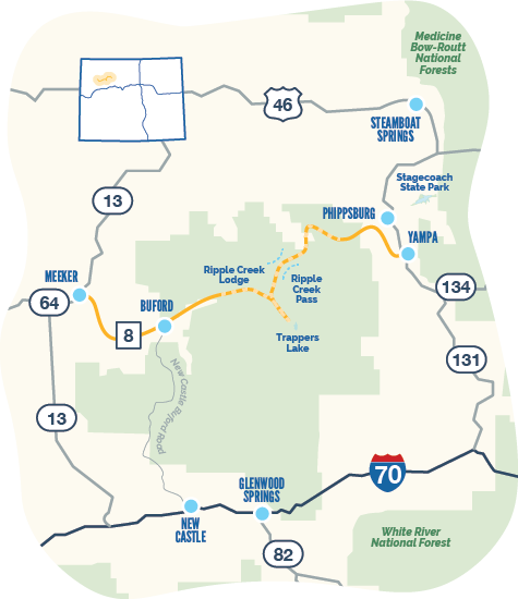 Map of Flat Tops Trail Byway