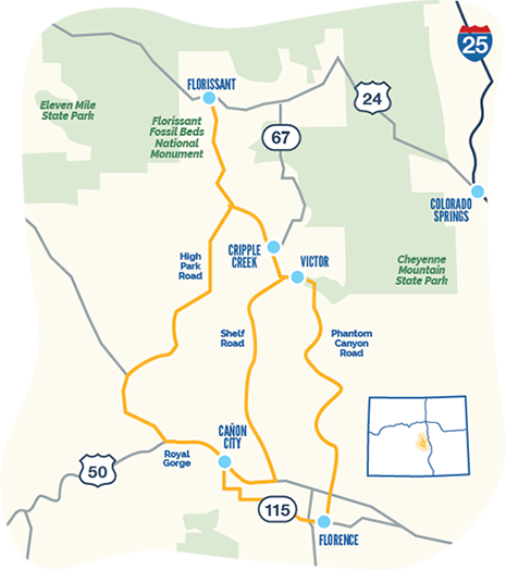 Gold Belt Tour byway map