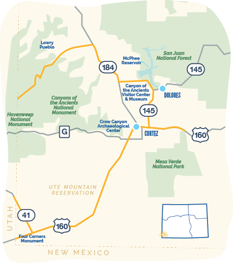 Map of Trail of Ancients Byway