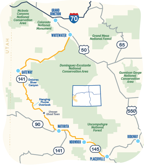 Map of Unaweep Tabeguache Byway
