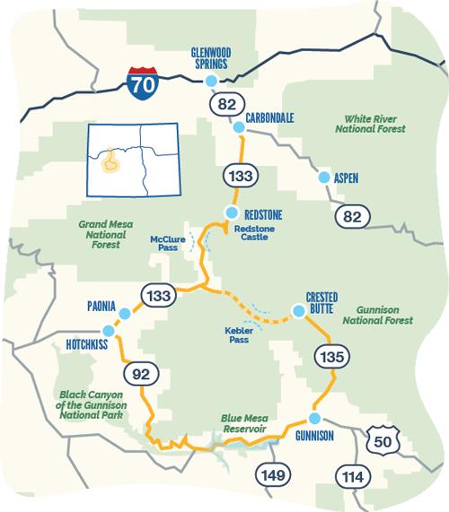 West Elk Loop byway map