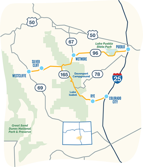 Frontier Pathways byway map